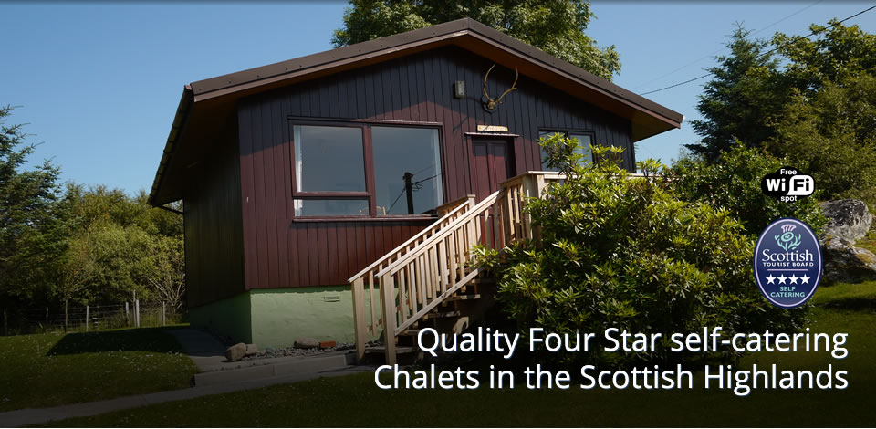 Scenic header image with caption: Quality Four Star self-catering Chalets in the Scottish Highlands
